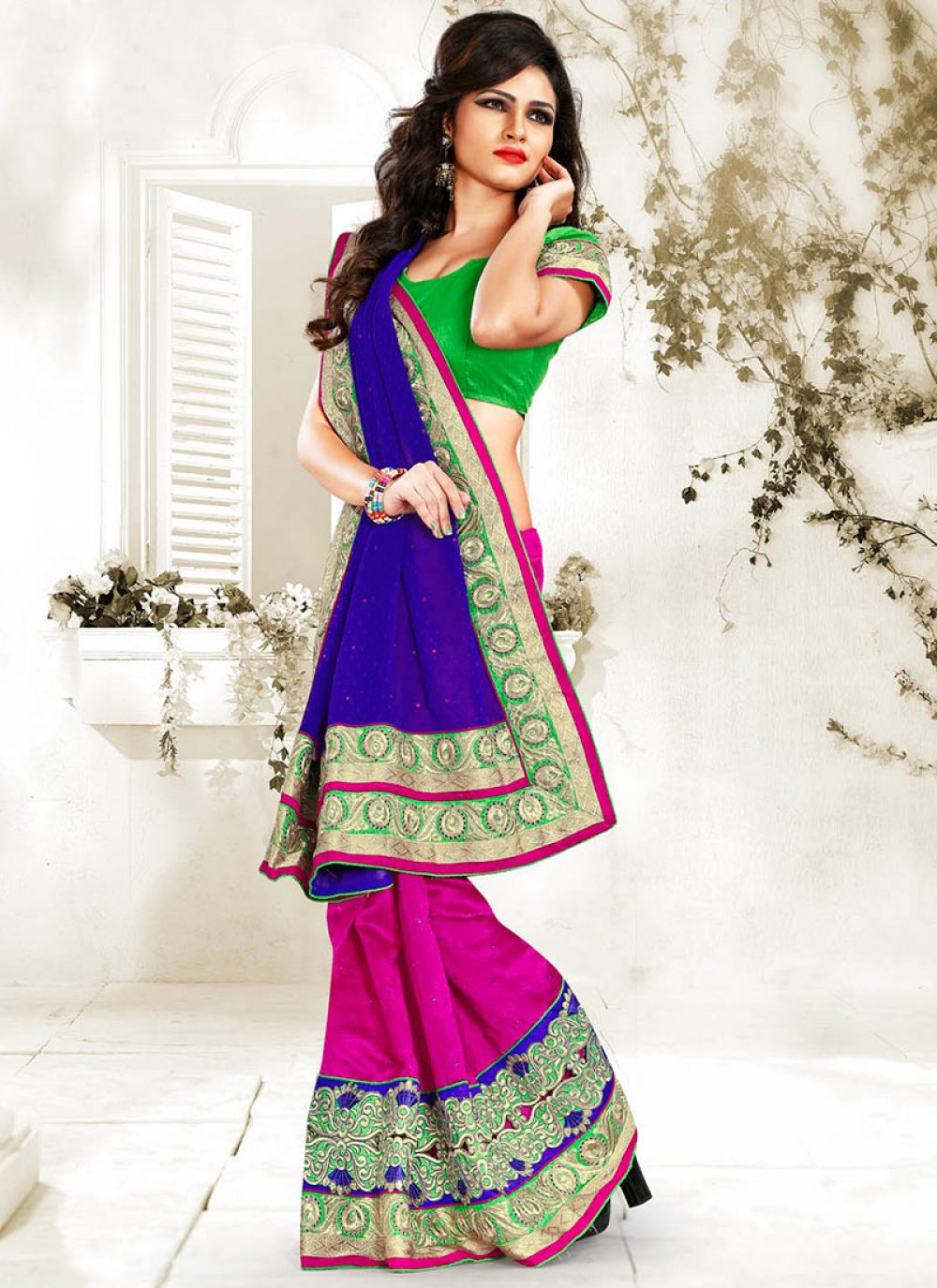 Blue And Pink Bhagalpuri Silk Saree