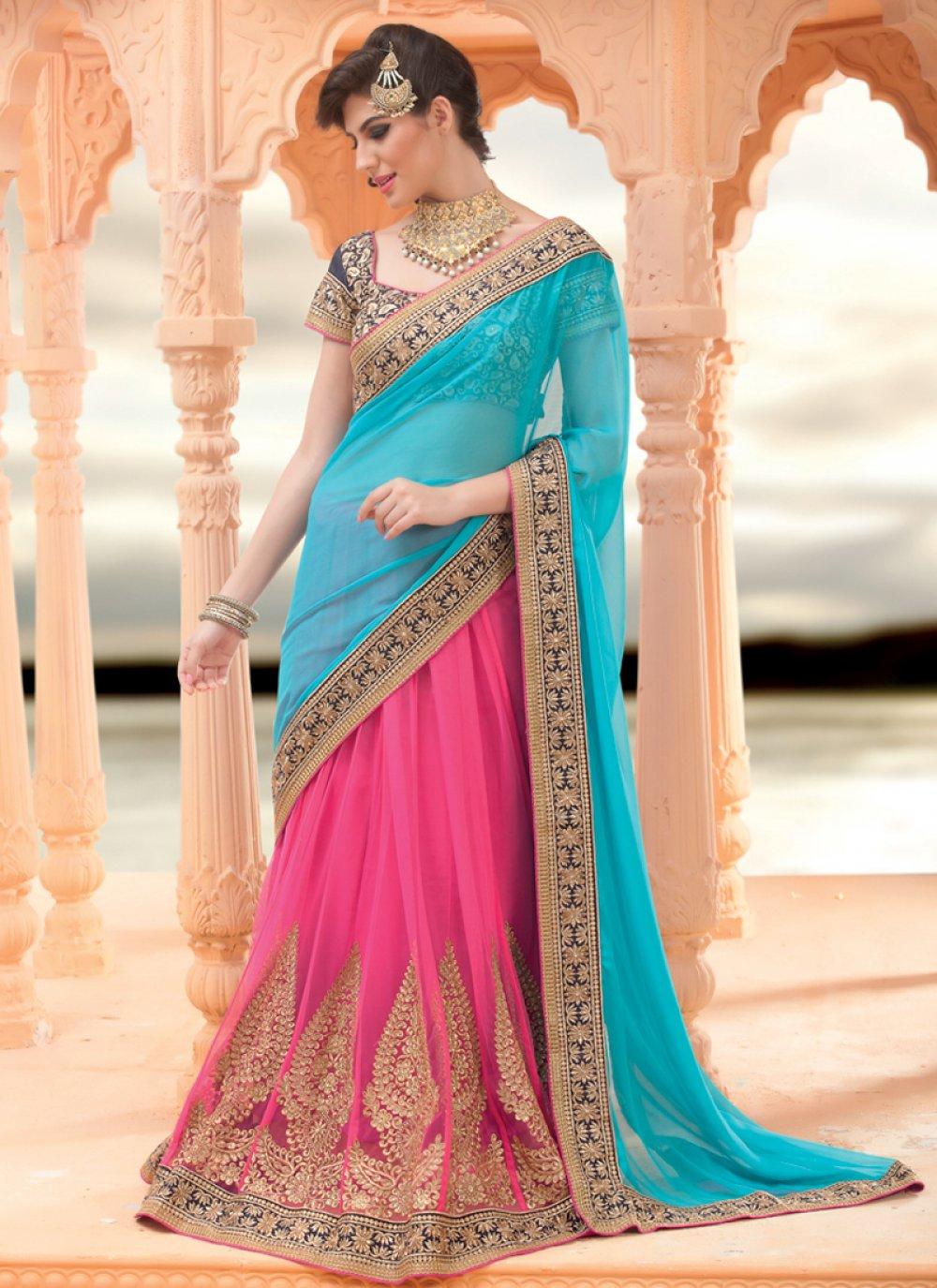 Turquoise And Pink Embroidery Lehenga Saree