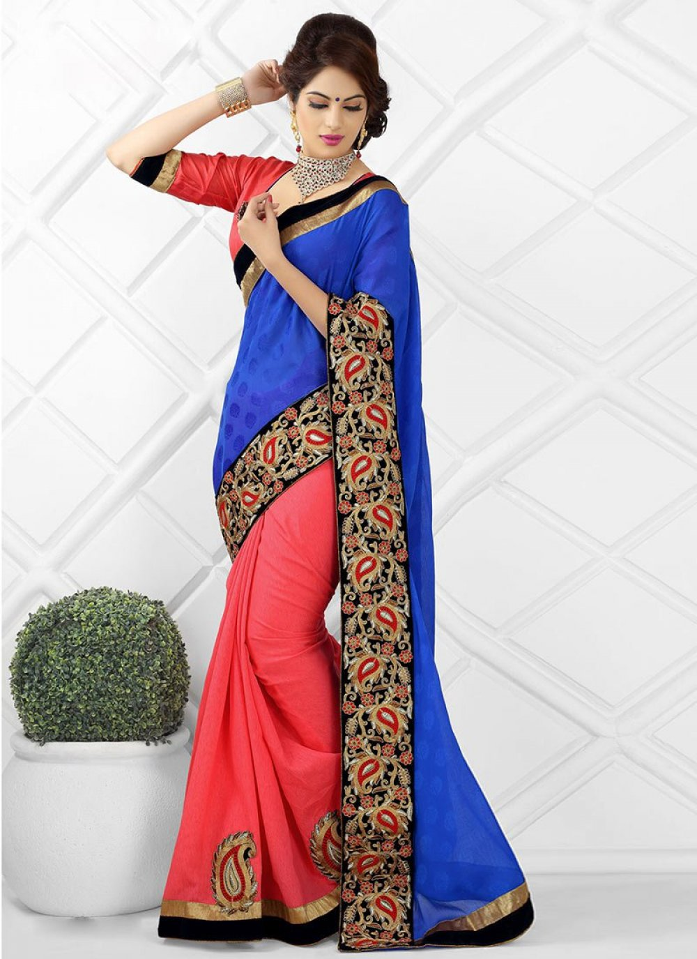 Blue And Orange Jacquard Designer Saree