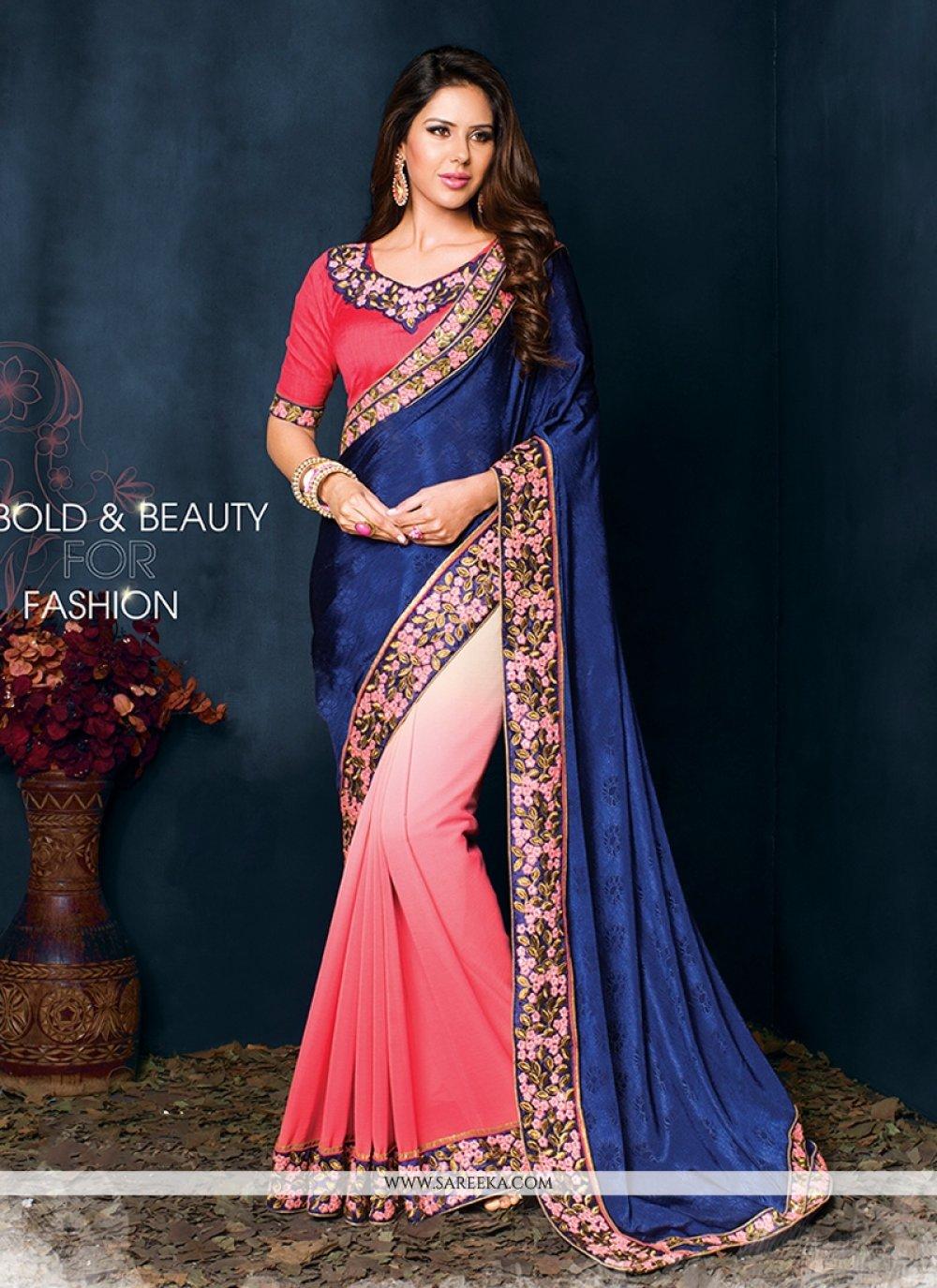 Blue And Pink Shaded Chiffon Jacquard Saree
