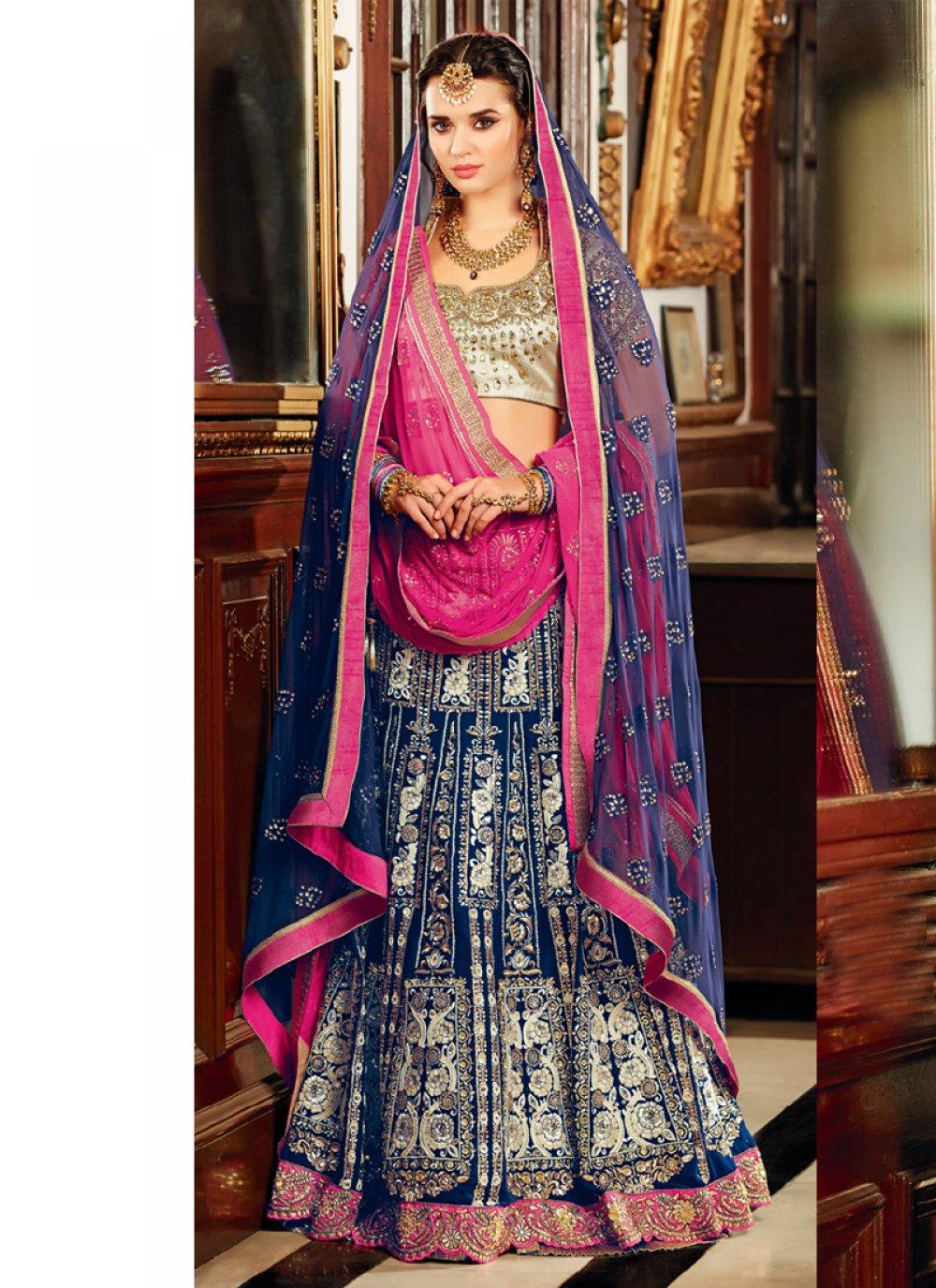 Blue And Pink Velvet Designer Lehenga Choli