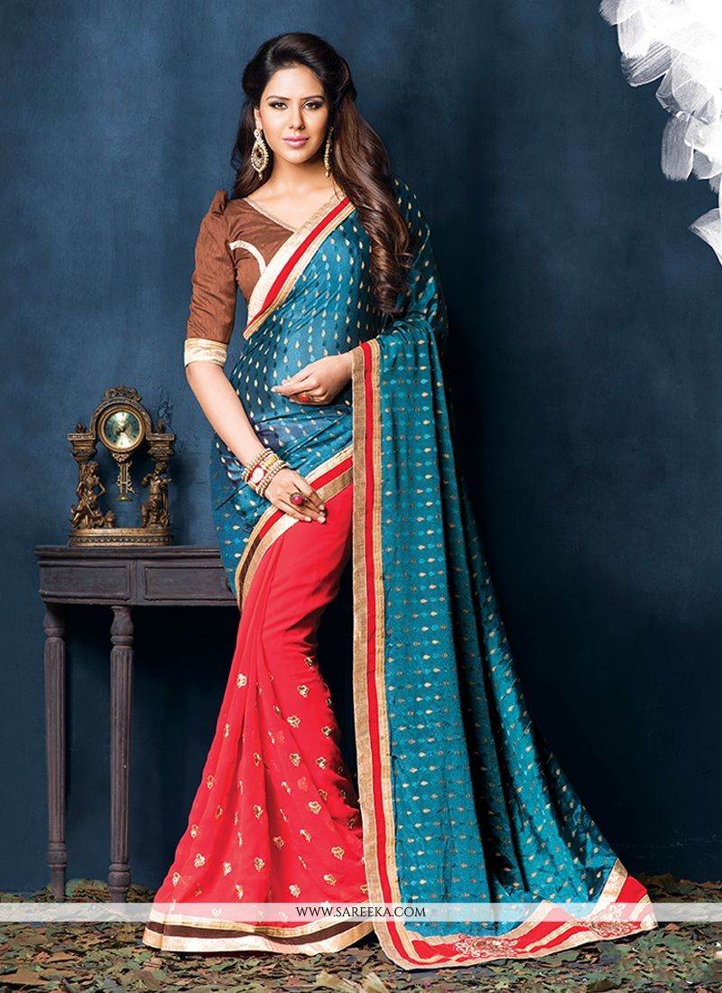 Blue And Red Jacquard Casual Saree