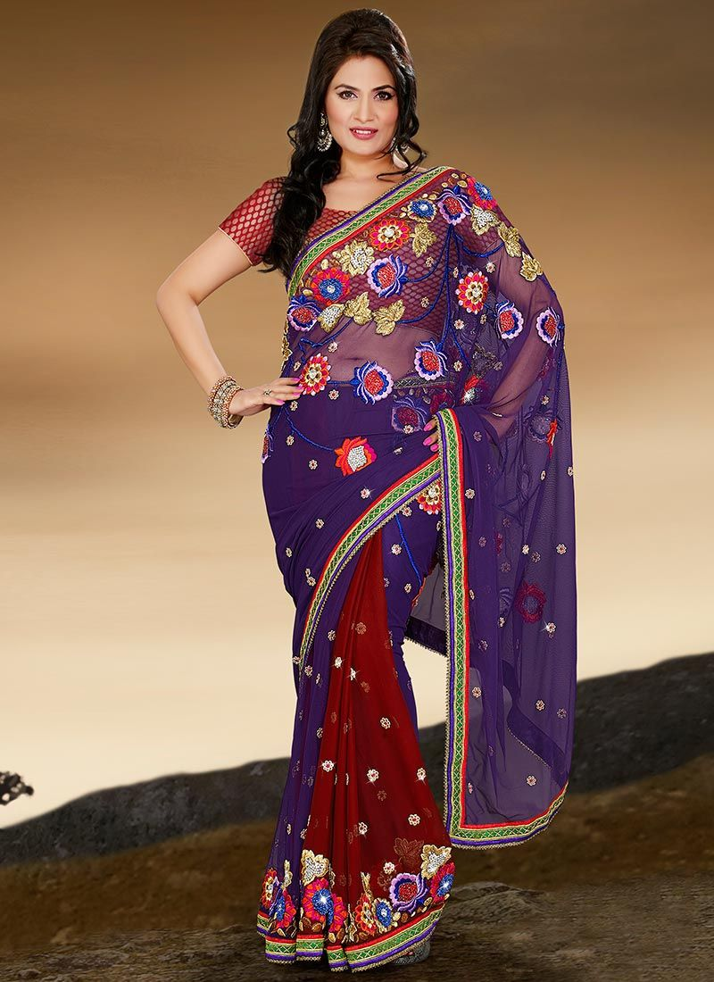 Blue and Red Net Half N Half Saree