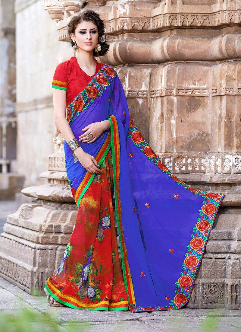 Blue And Red Printed Casual Saree
