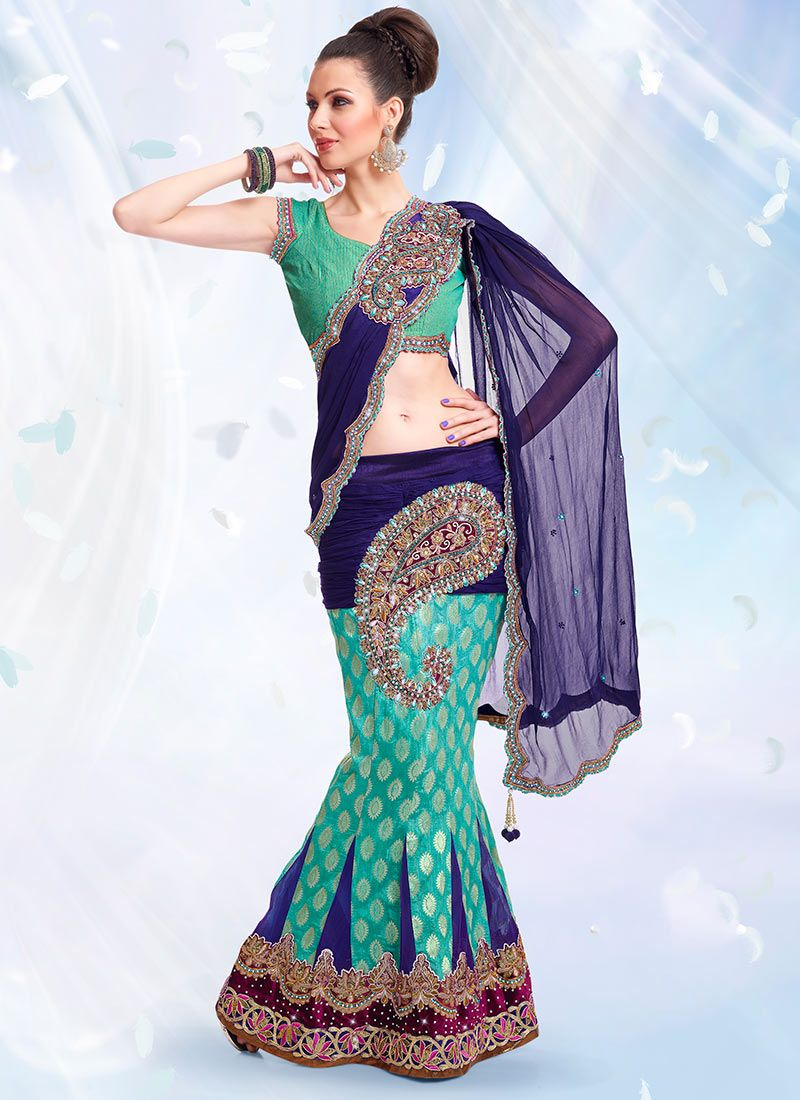 Blue And Turquoise Lehenga Style Saree