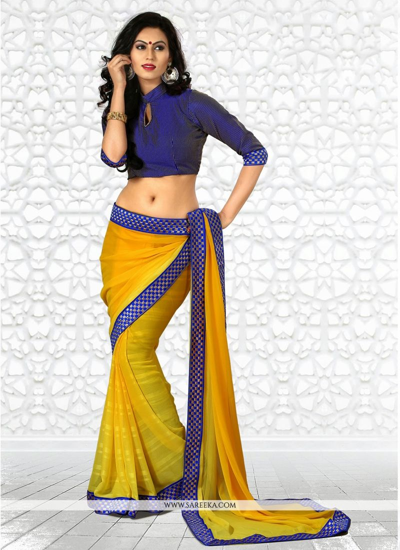 Blue And Yellow Chiffon Casual Saree