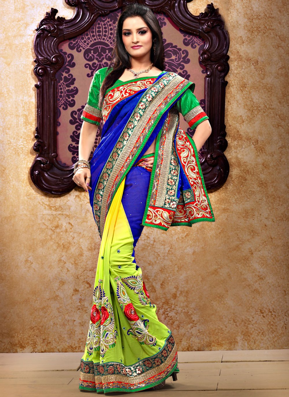 Blue And Yellow Faux Georgette Saree