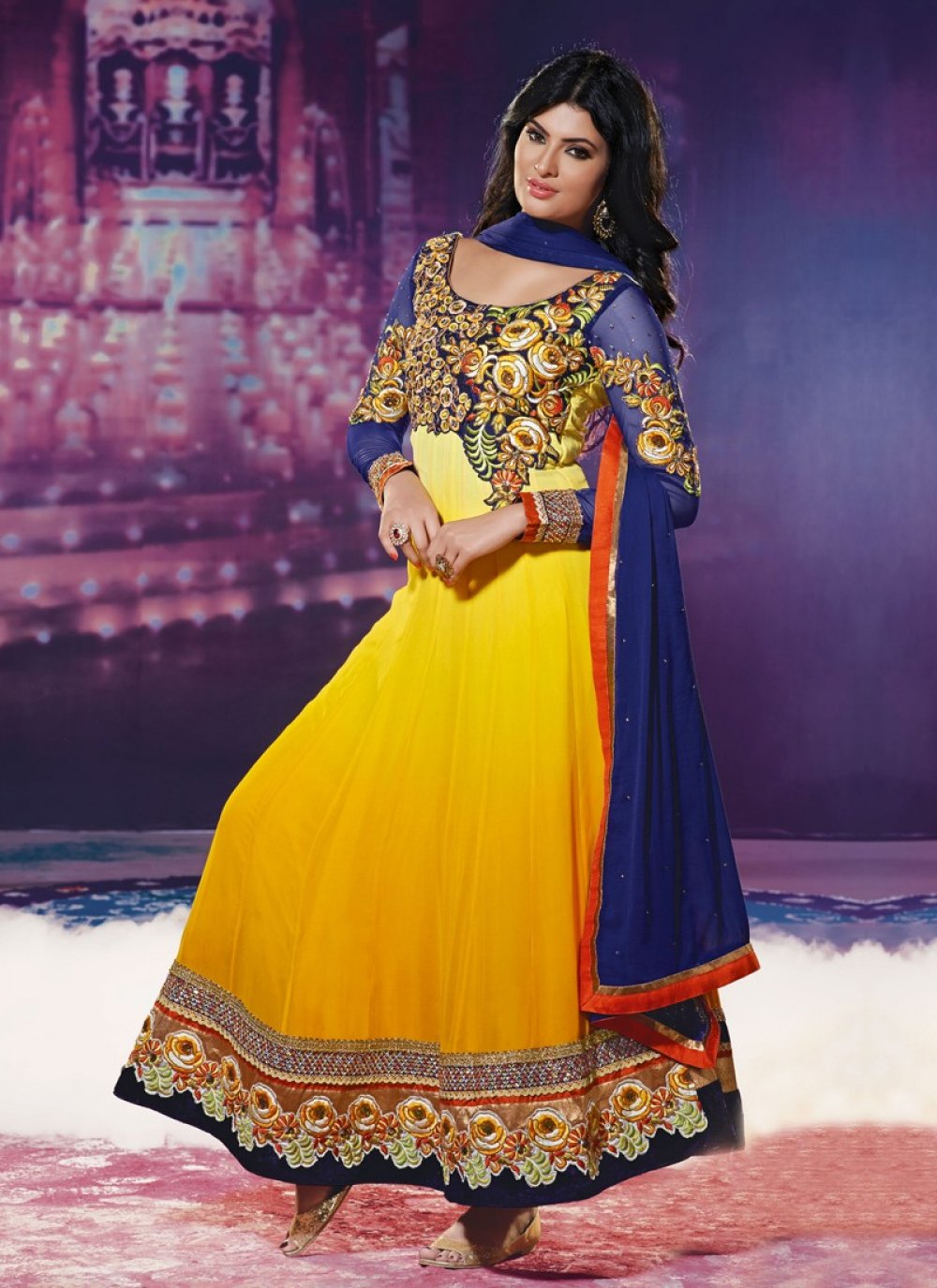 Blue And Yellow Resham Work Faux Georgette Anarkali Suit