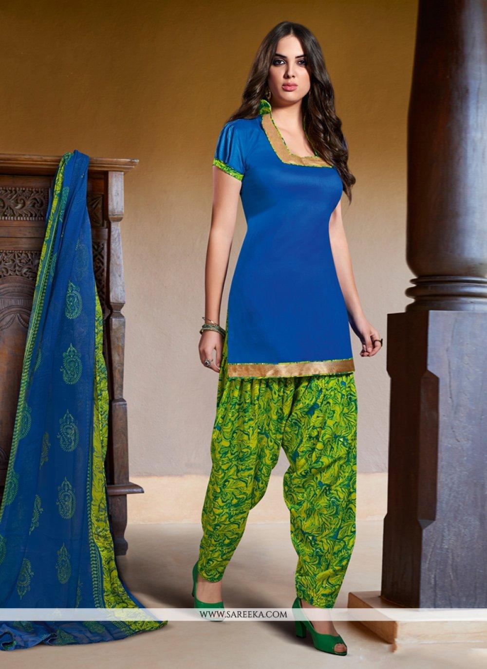 Blue Cotton Satin Punjabi Suit
