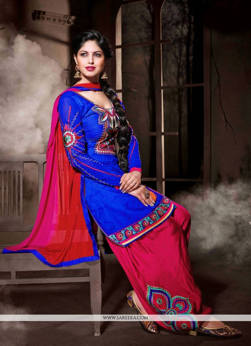 Blue Cotton Silk Punjabi Salwar Suit - Punjabi Suits