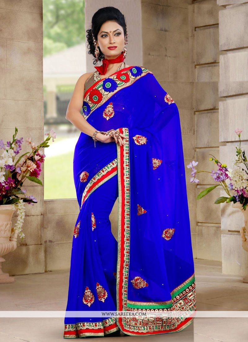 Blue Embroidered Work Designer Saree