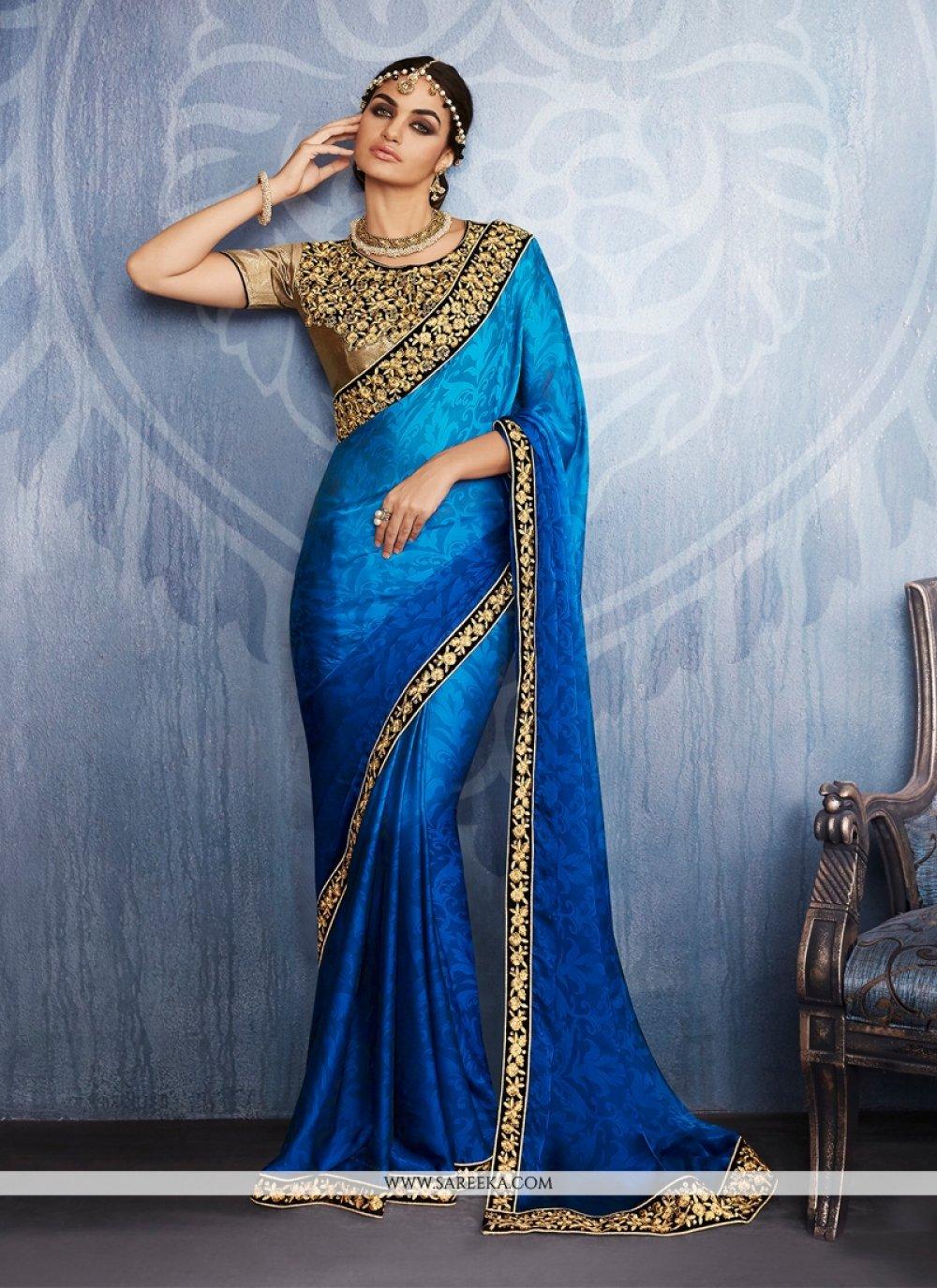 Blue Embroidered Work Jacquard Designer Saree