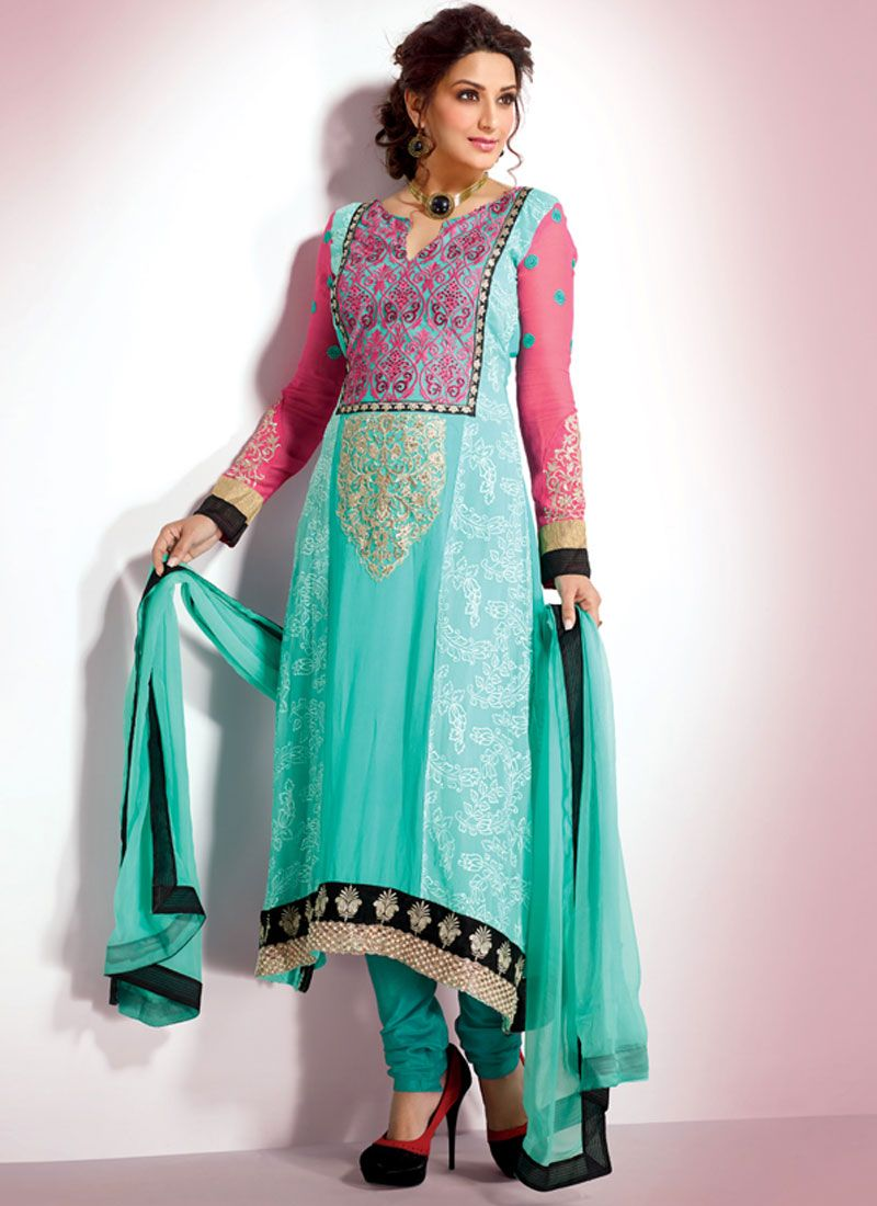 Blue Embroidery Work Churidar Salwar Suit