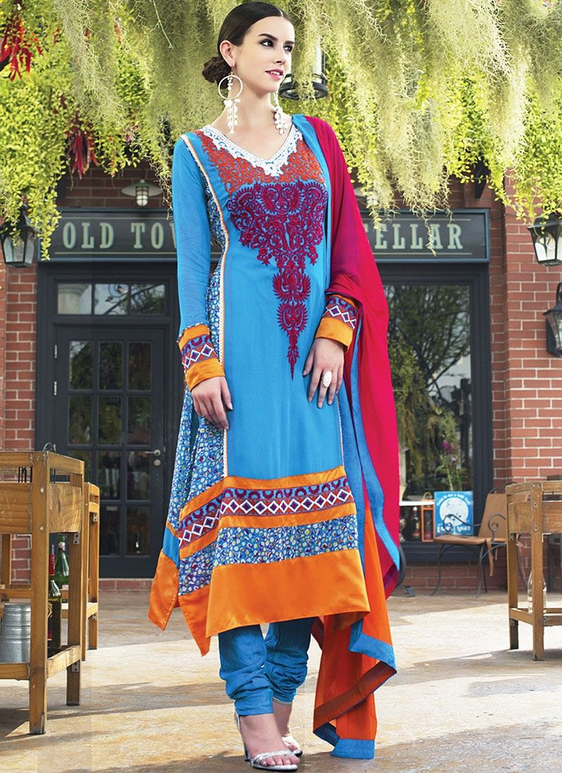 Blue Embroidery Work Faux Georgette Churidar Suit