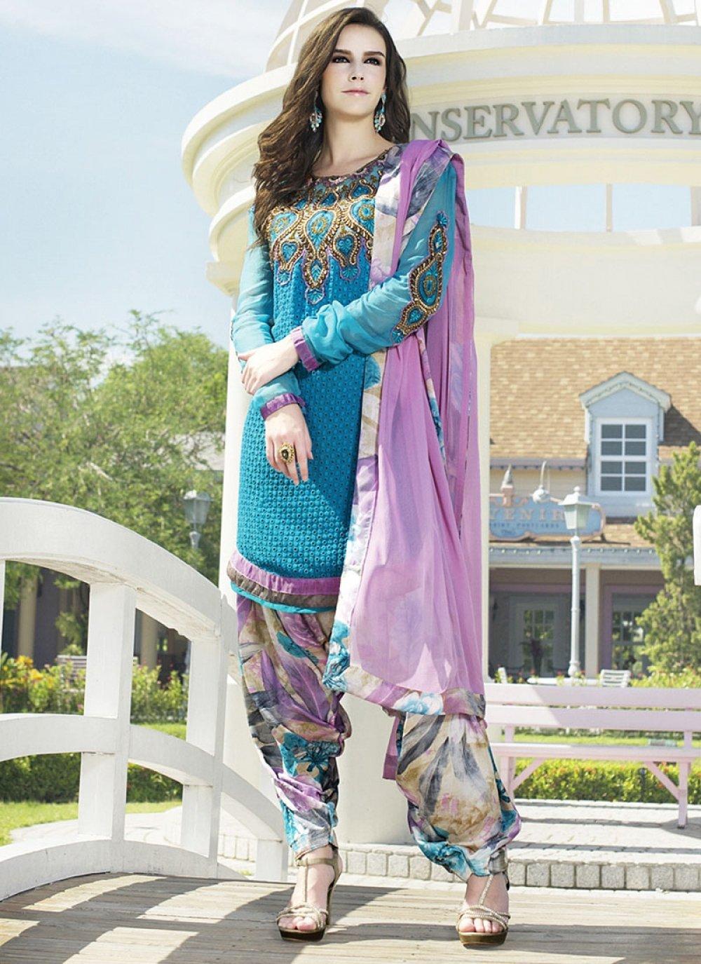 Blue Embroidery Work Faux Georgette Punjabi Suit