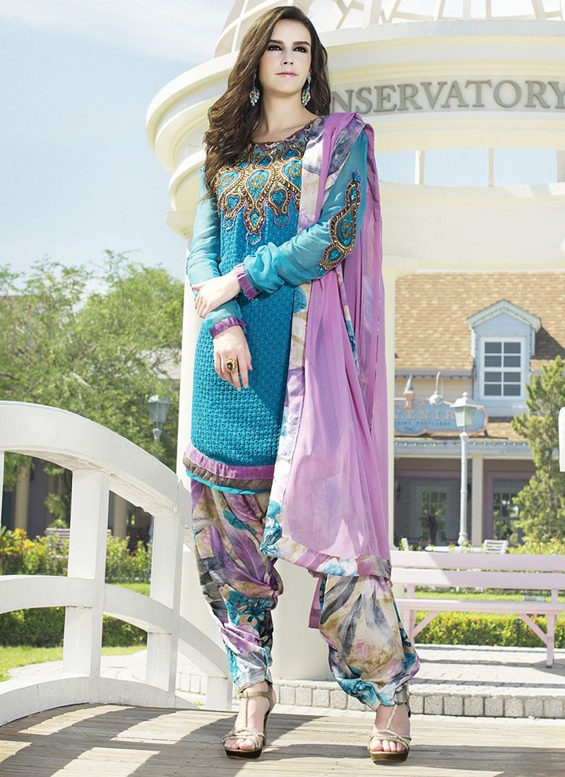 Blue Embroidery Work Faux Georgette Punjabi Suit