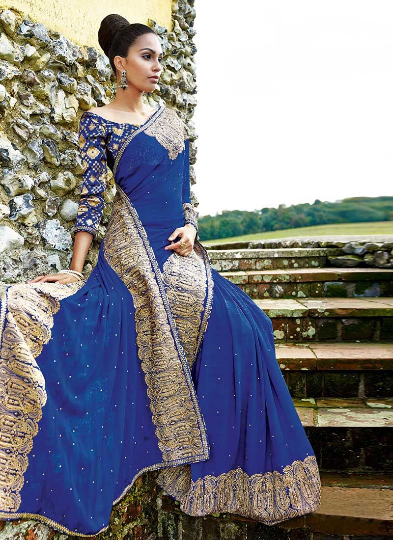 Blue Faux Chiffon Saree