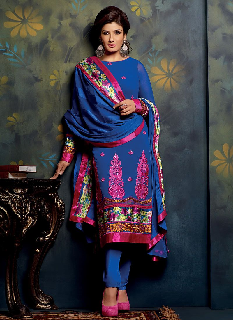 Blue Faux Georgette Churidar Suit