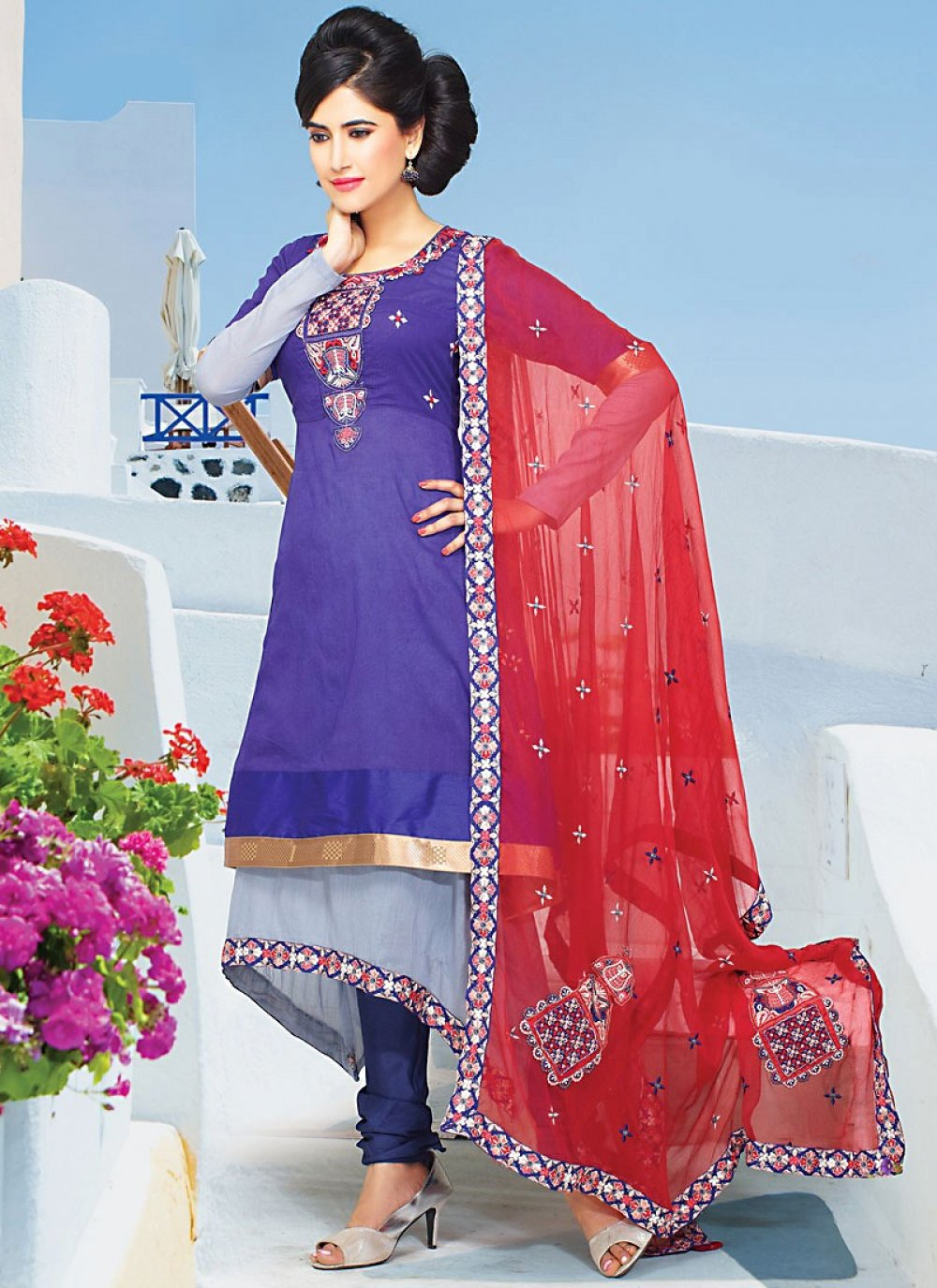 Blue Faux Georgette Churidhar Suit