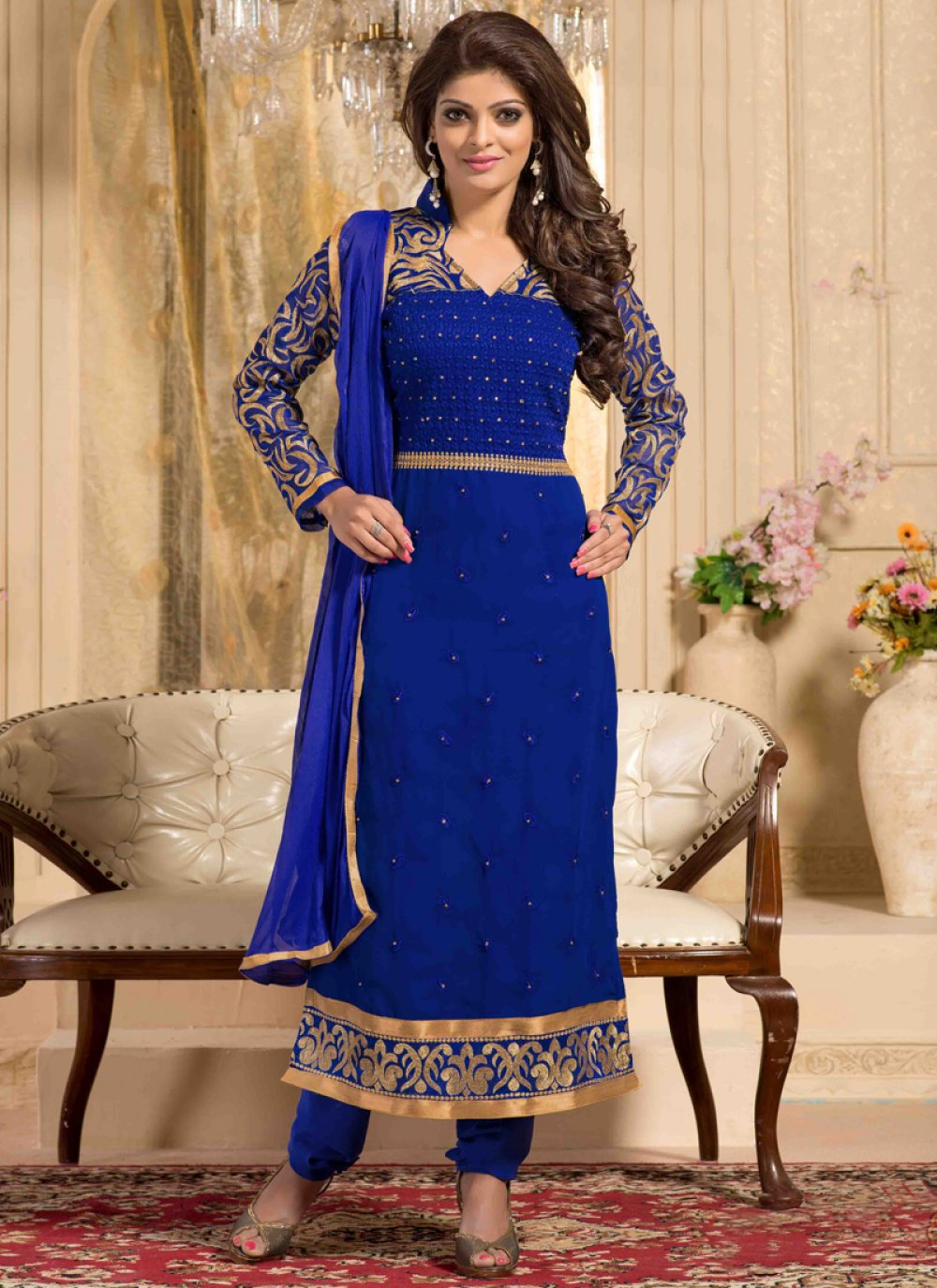 Blue Georgette Churidar Salwar Kameez