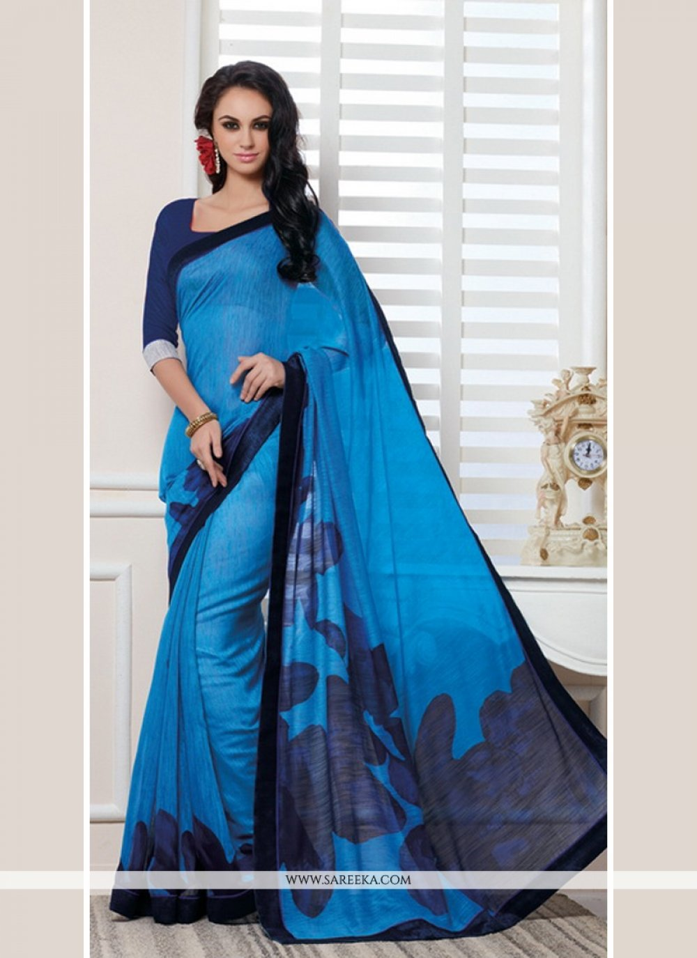 Blue Lace Work Cotton   Casual Saree