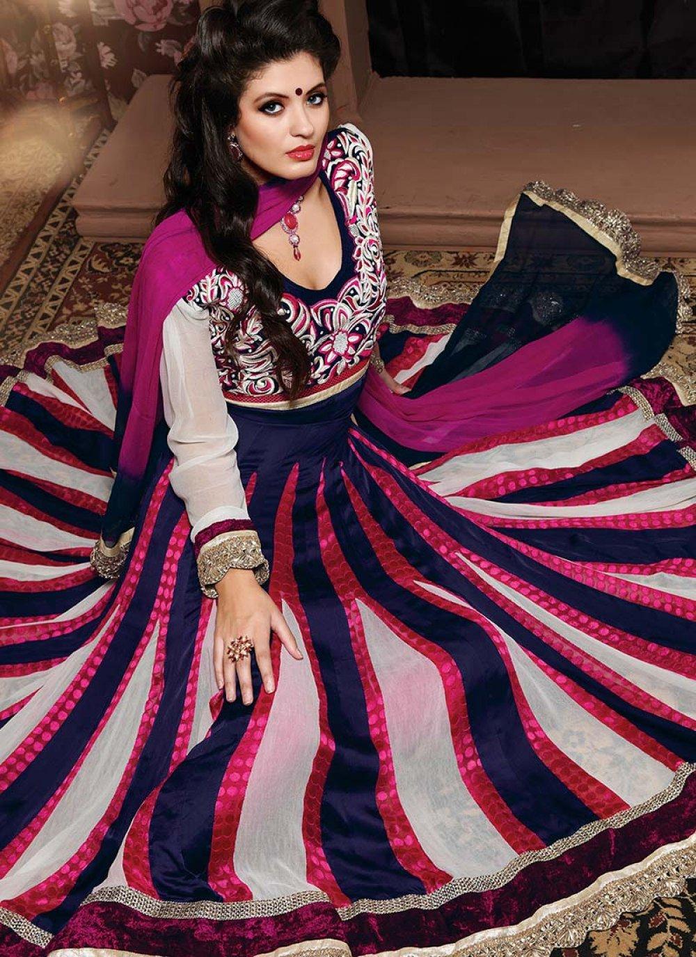 Blue Resham Enhanced Satin Anarkali Suit