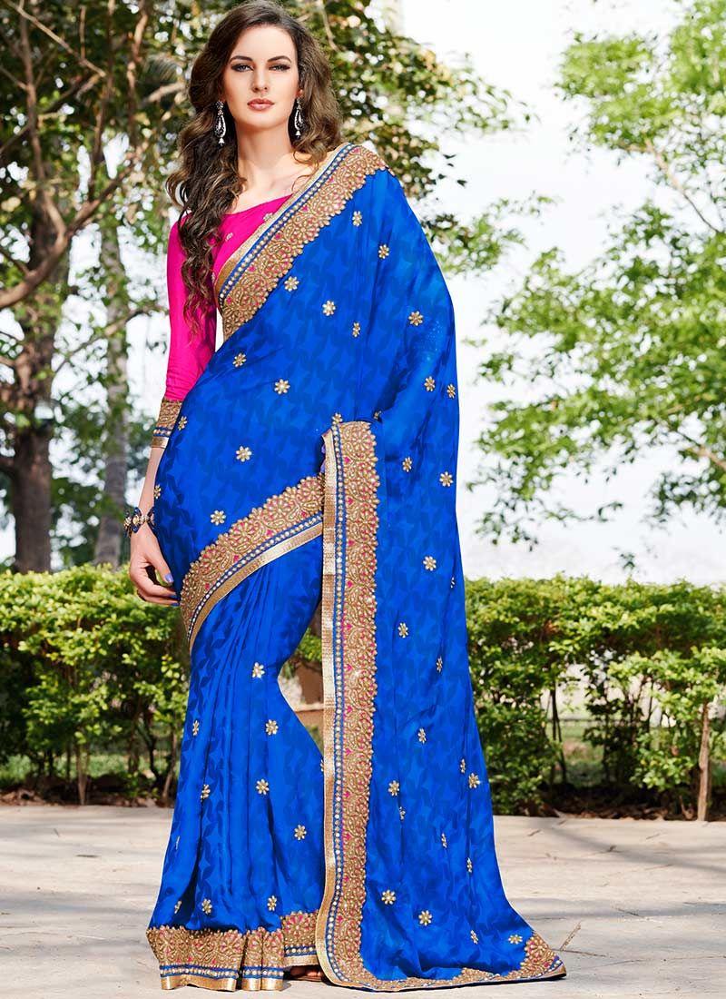 Blue Satin Georgette Enhanced Border Saree