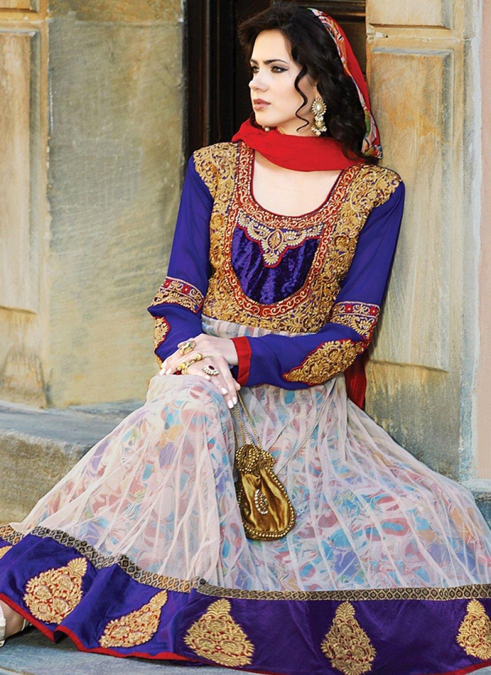 Blue Zari Work Faux Georgette Net Anarkali Suit