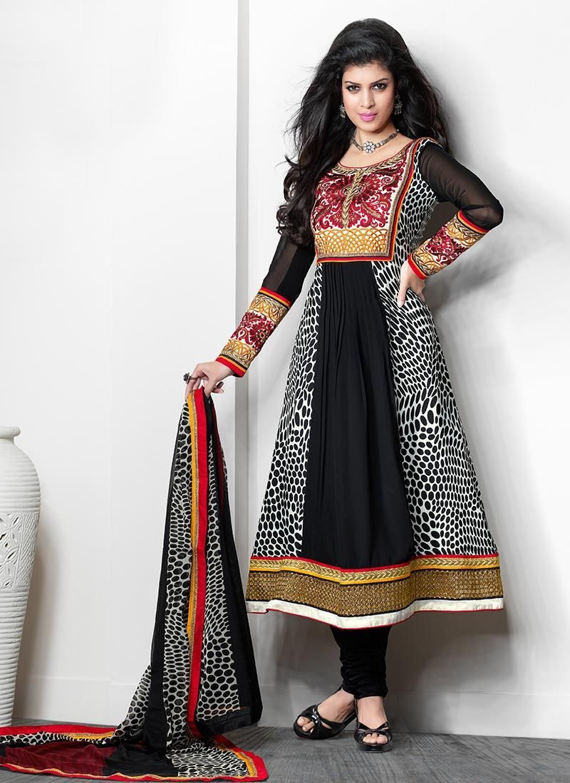 Bold Black And Red Crepe Churidar Suit