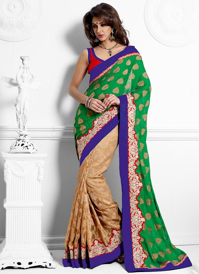 Bold Green And Beige Half And Half Saree