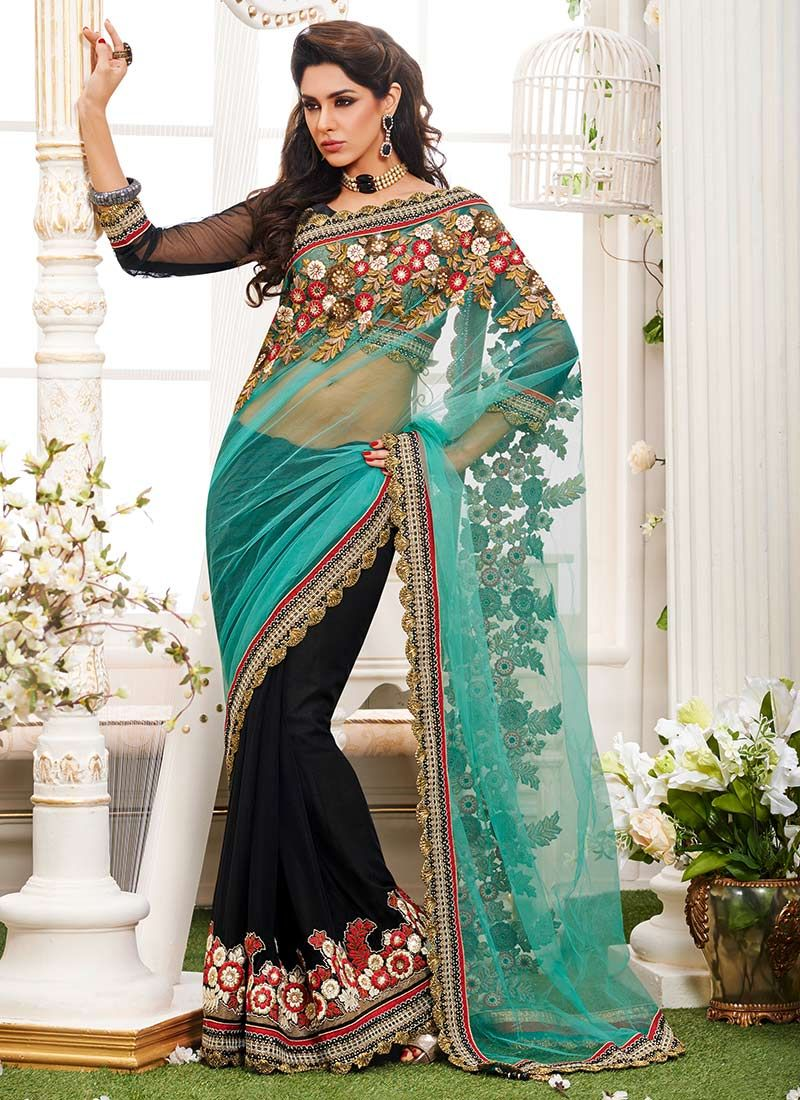 Black Half And Half Saree