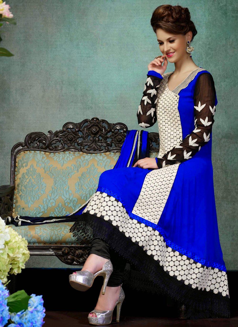 Blue Georgette Churidar Salwar Suit