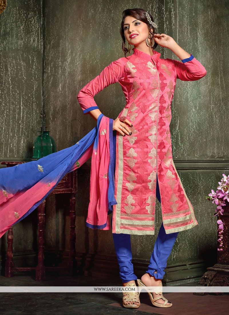 Chanderi Pink Churidar Designer Suit