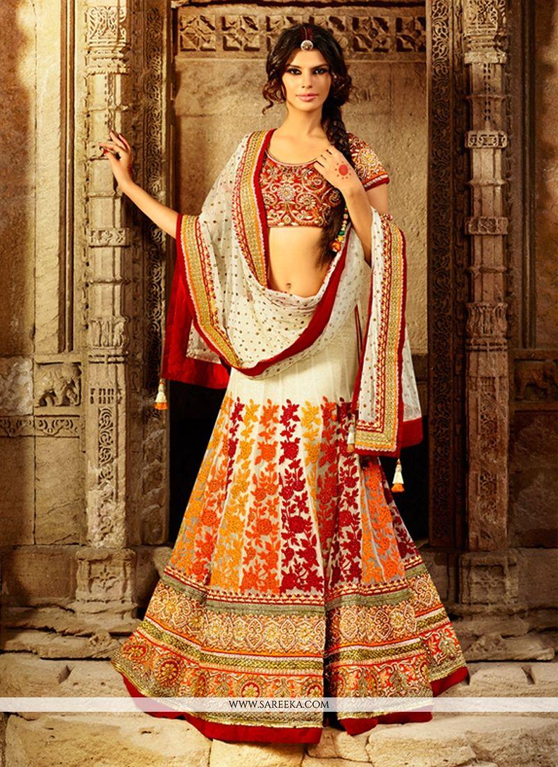 Cream Net Wedding Lehenga Choli