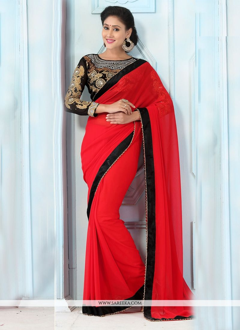 Georgette Resham Work Casual Saree
