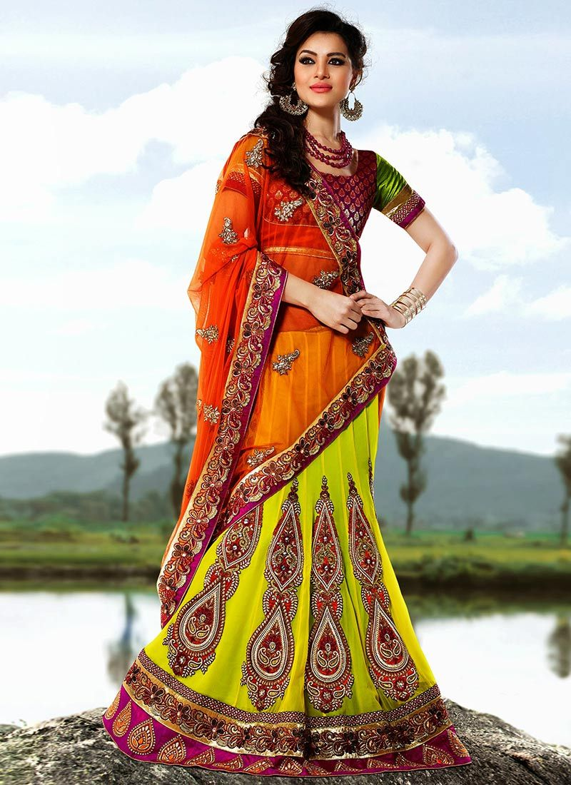 Green And Orange Lehenga Saree