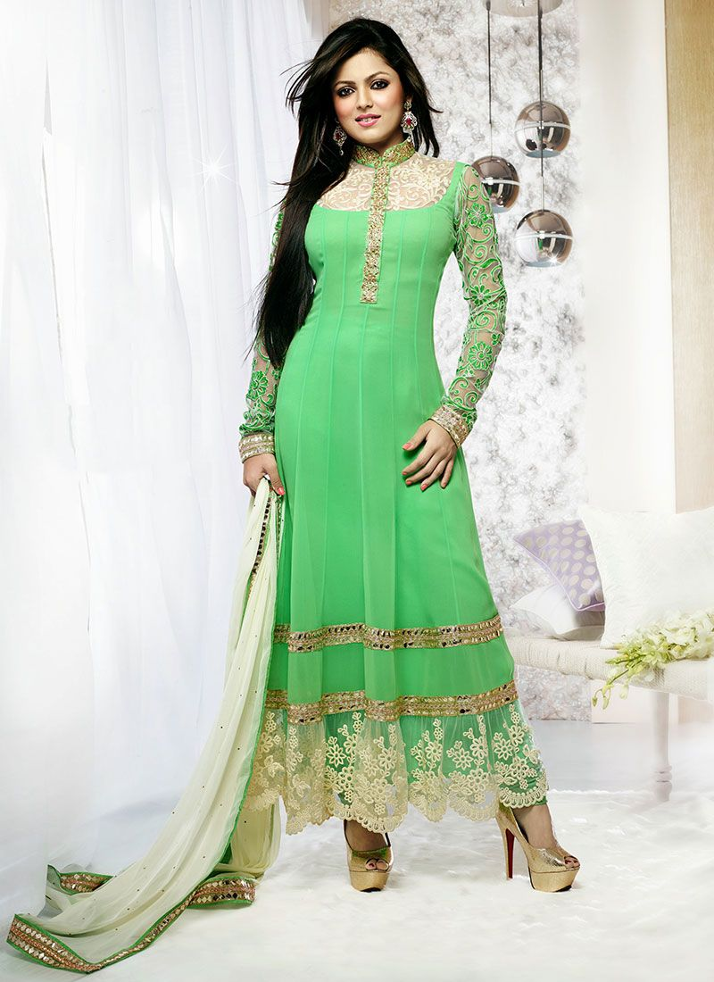 Madhubala Blue Ankle Length Anarkali Suit