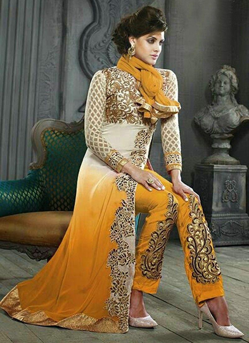 Mustard Georgette Pakistani Suit