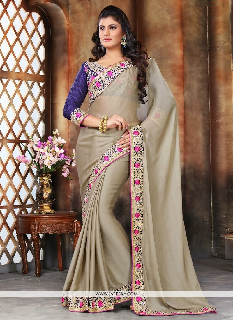 Net Embroidered Work Casual Saree