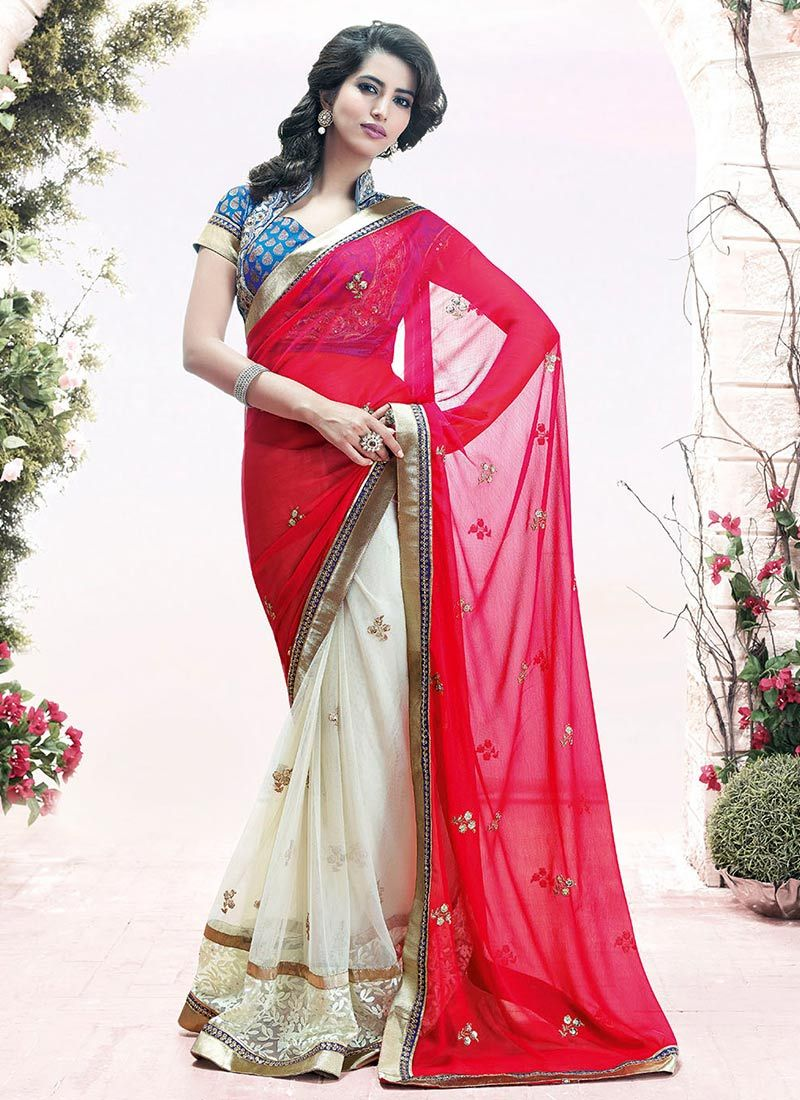 Off White And Red Border Work Half And Half Saree
