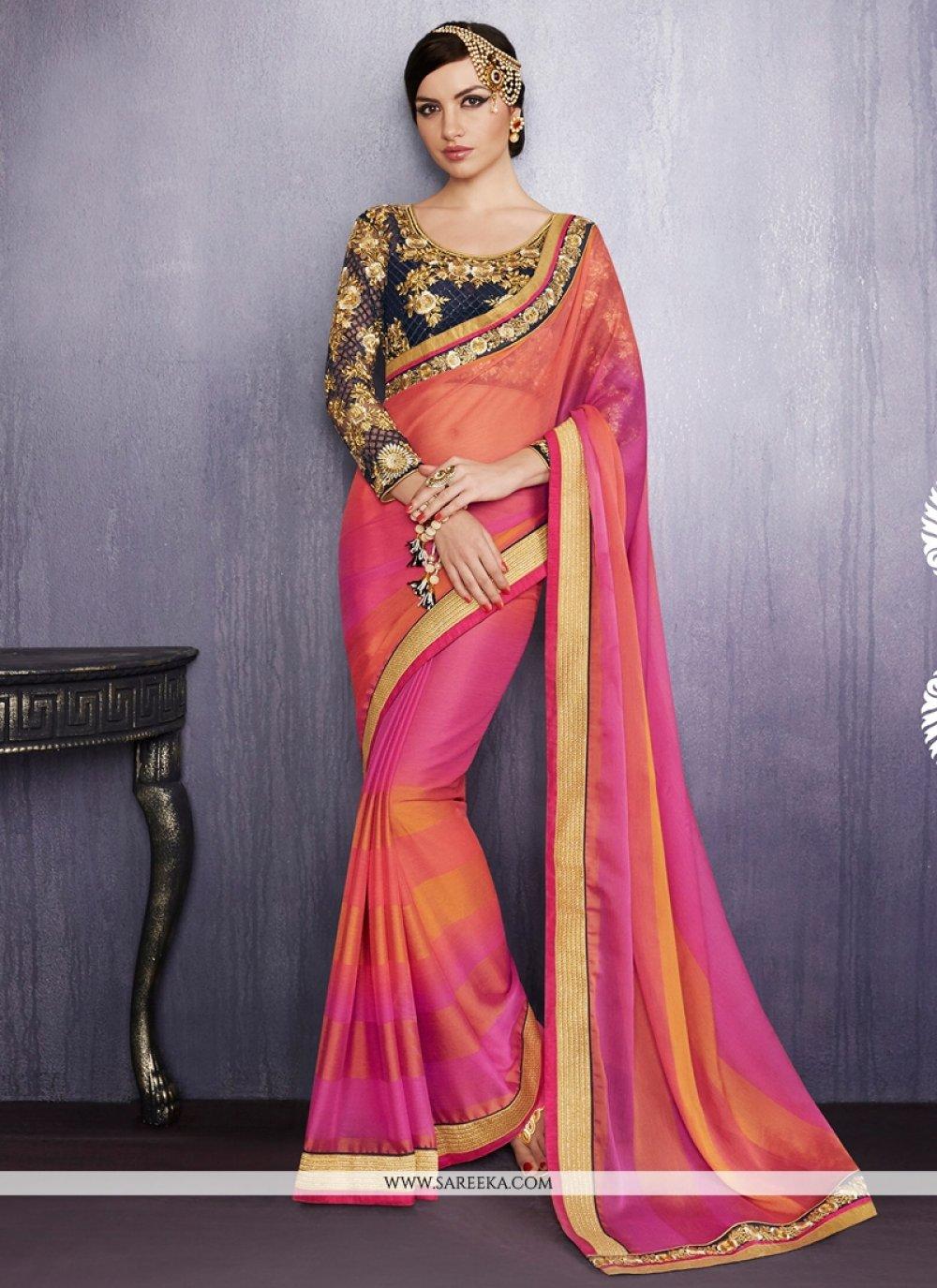 Orange and Pink Faux Chiffon Designer Saree
