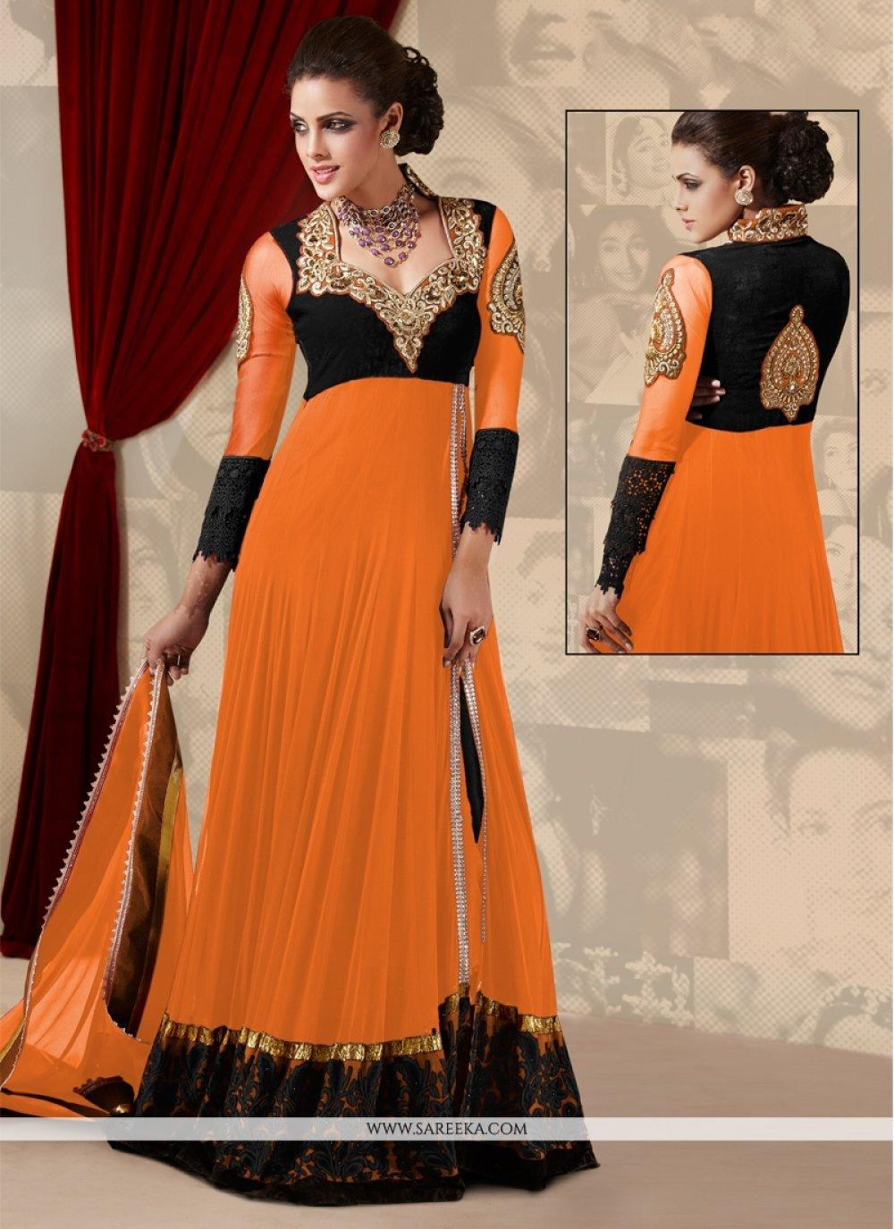 Orange Net Georgette Anarkali Suit