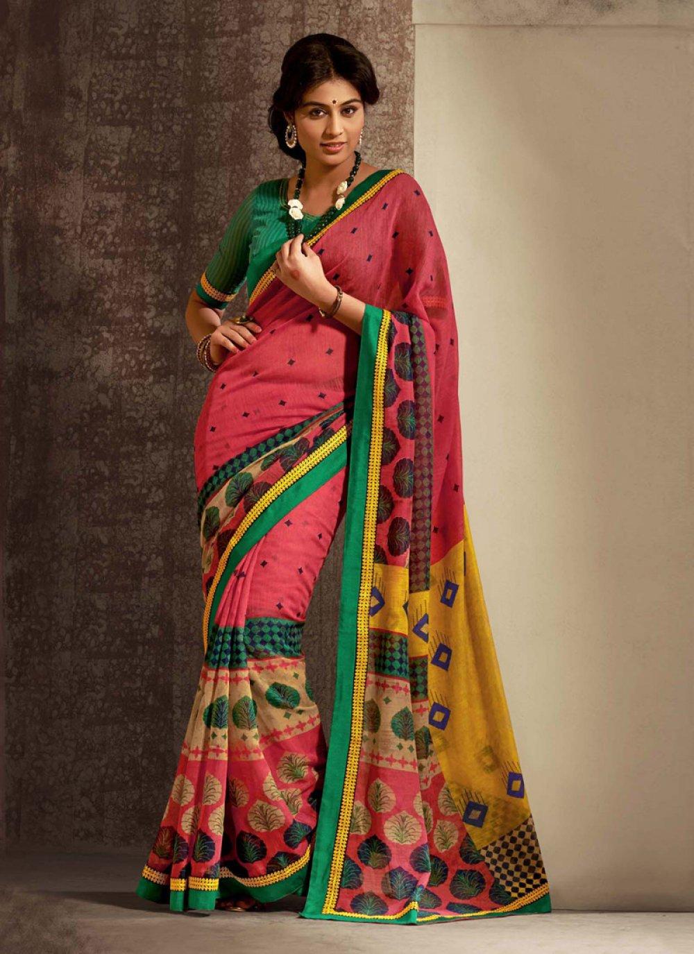 Pink Cotton Silk Casual Saree