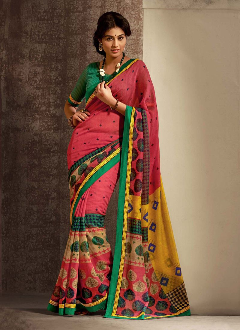 Pink Cotton Silk Casual Saree