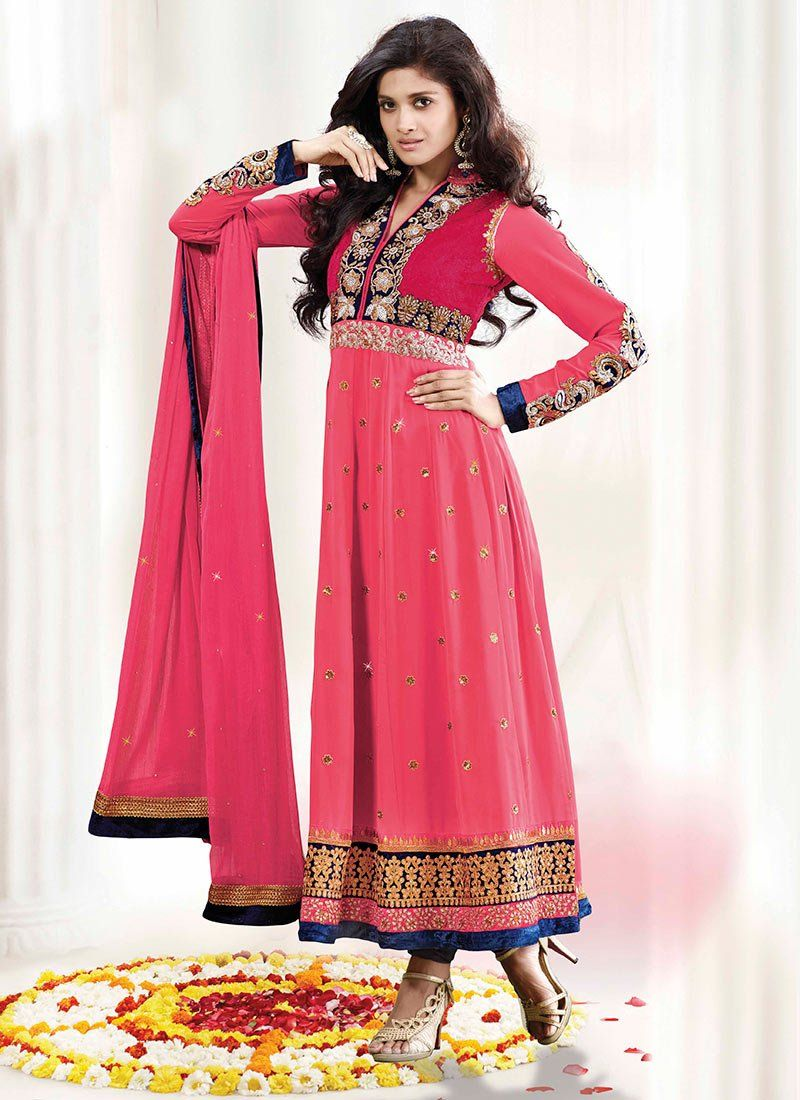 Bright Pink Embroidery Shaded Faux Georgette Anarkali Suit