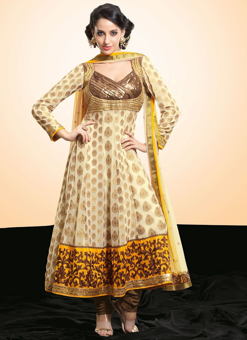 Bright Yellow and Beige Viscose Anarkali Suit