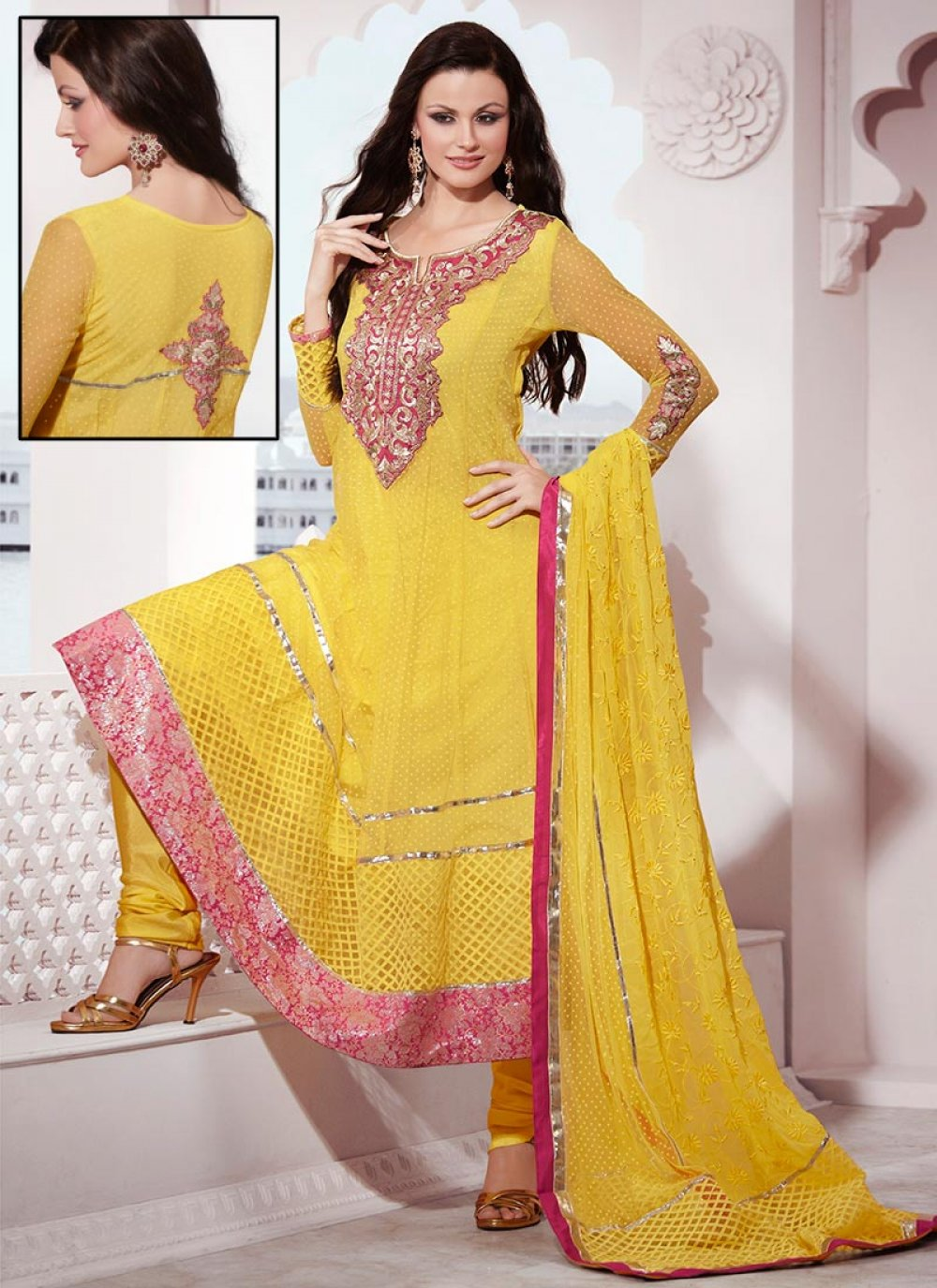 Bright Yellow Net Anarkali Suit