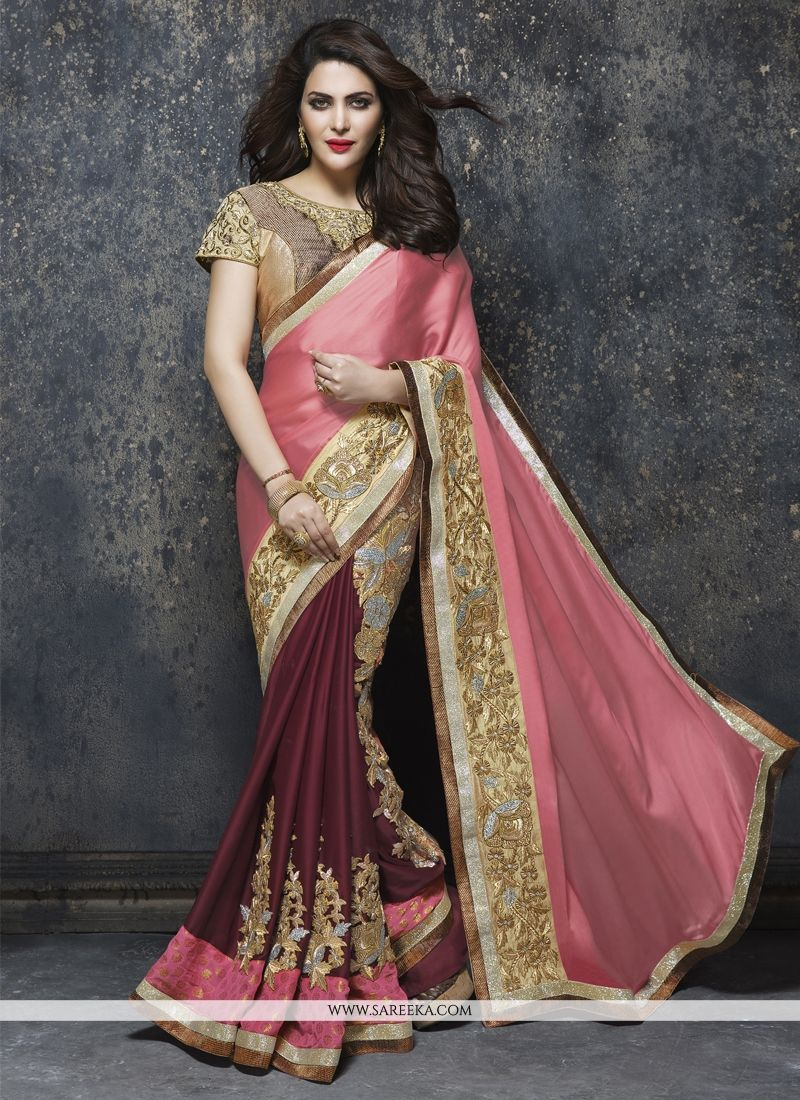 Chiffon Satin Patch Border Work Designer Saree