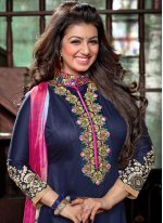 Embroidered Work Blue Cotton   Designer Patiala Suit