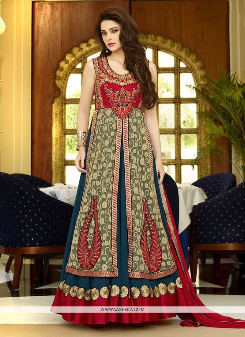 Georgette Blue and Green Anarkali Suit